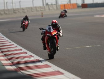 Ducati's chief test rider Alessandro Valia breaks the BIC track record in the Panigale V4S