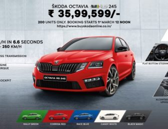 ŠKODA OCTAVIA RS 245 Priced At Rs. 35.99 Lac. Bookings Will Be Open Online From March 1st